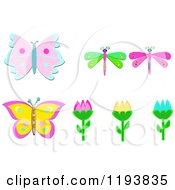 Tulips With Butterflies And Dragonflies