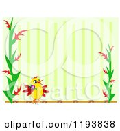 Bird And Plant Frame Over Green Stripes