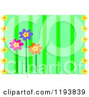 Green Stripe Background With Flowers And White Sides