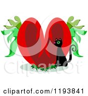 Black Cat And Heart With Leaves