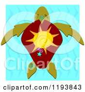 Cartoon Of A Sea Turtle With A Star Sun And Spiral On His Shell Over Water With White Sides Royalty Free Vector Clipart