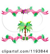 Cartoon Of A Coconut Palm Tree With Floral Ribbons And Flowers Royalty Free Vector Clipart by bpearth