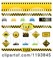 Clipart Of Taxi Borders Signs Cars And Icons Royalty Free Vector Illustration