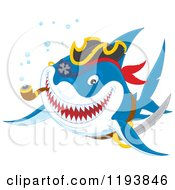 Cartoon Of A Pirate Shark Smoking A Pipe Royalty Free Vector Clipart by Alex Bannykh