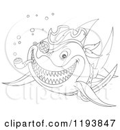 Cartoon Of Line Art Of A Pirate Shark Smoking A Pipe Royalty Free Vector Clipart