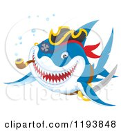 Cartoon Of A Grinning Pirate Shark Swimming With A Pipe Royalty Free Clipart