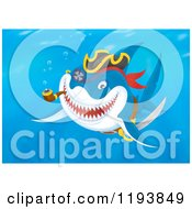Cartoon Of A Pirate Shark Swimming With A Pipe Underwater Royalty Free Clipart