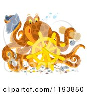 Cartoon Of A Captain Octopus With A Scroll Hat Sword And Sunken Helm Royalty Free Clipart by Alex Bannykh