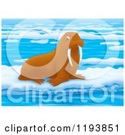 Cartoon Of A Cute Walrus On Floating Ice Royalty Free Clipart by Alex Bannykh