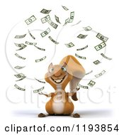 Clipart Of A 3d Happy Squirrel With Falling Cash Royalty Free CGI Illustration