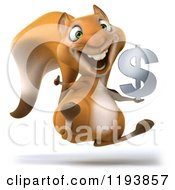 Clipart Of A 3d Happy Squirrel Jumping With A Dollar Symbol Royalty Free CGI Illustration