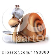 Clipart Of A 3d Happy Chef Snail Mascot Holding A Plate Royalty Free CGI Illustration