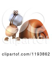 Clipart Of A 3d Chef Snail Mascot Over A Sign Royalty Free CGI Illustration