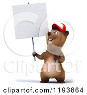 Clipart Of A 3d Happy Bear Mascot Wearing A Hat And Holding A Sign Royalty Free CGI Illustration