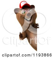 Clipart Of A 3d Happy Bear Mascot Wearing A Hat And Holding A Thumb Up Around A Sign Royalty Free CGI Illustration