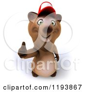 Clipart Of A 3d Happy Bear Mascot Wearing A Hat And Holding A Thumb Up Royalty Free CGI Illustration