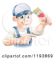 Cartoon Of A Happy Male House Painter Holding A Brush And Pointing Royalty Free Vector Clipart