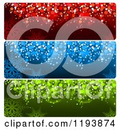 Clipart Of Colorful Bokeh Snowflake Christmas Website Banners Royalty Free Vector Illustration