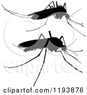 Clipart Of Black Mosquito Silhouettes Royalty Free Vector Illustration by dero