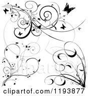 Clipart Of Black And White Scrolling Vines With Butterflies Hearts And Tendrils Royalty Free Vector Illustration