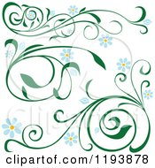 Clipart Of Green Scrolling Vines With Blue Daisy Flowers Royalty Free Vector Illustration