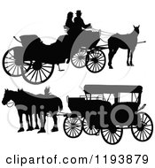 Clipart Of Black Silhouetted Horse Drawn Carriages Royalty Free Vector Illustration