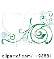 Clipart Of A Green Scrolling Vine With Blue Daisy Flowers 3 Royalty Free Vector Illustration