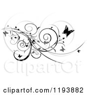 Clipart Of A Black And White Scrolling Vine And Butterflies Royalty Free Vector Illustration