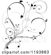 Clipart Of A Black And White Scrolling Vine And Hearts Royalty Free Vector Illustration
