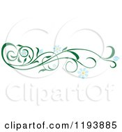 Clipart Of A Green Scrolling Vine With Blue Daisy Flowers Royalty Free Vector Illustration by dero