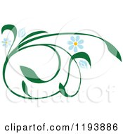Clipart Of A Green Scrolling Vine With Blue Daisy Flowers 2 Royalty Free Vector Illustration by dero
