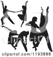 Clipart Of Black Silhouetted Latin Dance Couples Royalty Free Vector Illustration