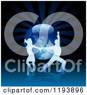Clipart Of A Silhouetted Latin Dance Couple Over A Blue Globe And Rays Royalty Free Vector Illustration by dero