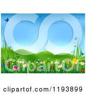 Clipart Of A Spring Meadow With Butterflies Birds And Wild Flowers Royalty Free Vector Illustration