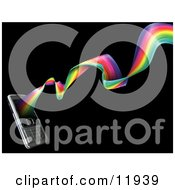 Rainbow Spiraling Out From A Modern Cell Phone Clipart Illustration by AtStockIllustration