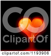 Clipart Of A Glowing Red Heart On A Black Background Royalty Free Vector Illustration