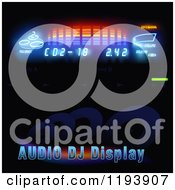 Clipart Of Audio Dj Display Text And Lights On Black Royalty Free Vector Illustration