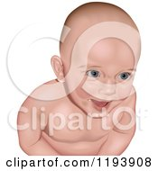 Clipart Of A Happy Caucasian Baby Smiling Royalty Free Vector Illustration