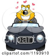 Cartoon Of A Loving Chubby Business Cat Driving A Convertible Car Royalty Free Vector Clipart