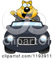 Cartoon Of A Waving Chubby Business Cat Driving A Convertible Car Royalty Free Vector Clipart