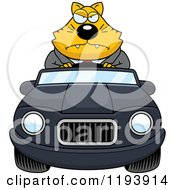 Cartoon Of A Mad Chubby Business Cat Driving A Convertible Car Royalty Free Vector Clipart