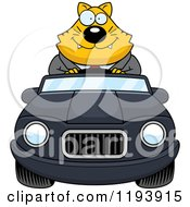 Cartoon Of A Happy Chubby Business Cat Driving A Convertible Car Royalty Free Vector Clipart