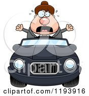 Cartoon Of A Scared Chubby Commuting Businesswoman Driving A Convertible Car Royalty Free Vector Clipart