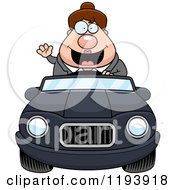 Cartoon Of A Waving Chubby Commuting Businesswoman Driving A Convertible Car Royalty Free Vector Clipart