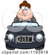 Cartoon Of A Happy Chubby Commuting Businesswoman Driving A Convertible Car Royalty Free Vector Clipart