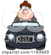 Cartoon Of A Surprised Chubby Commuting Businesswoman Driving A Convertible Car Royalty Free Vector Clipart