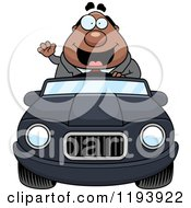 Cartoon Of A Waving Chubby Black Businessman Driving A Convertible Car Royalty Free Vector Clipart