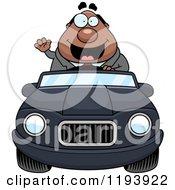 Waving Chubby Black Businessman Driving A Convertible Car