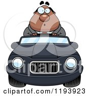 Cartoon Of A Surprised Chubby Black Businessman Driving A Convertible Car Royalty Free Vector Clipart by Cory Thoman