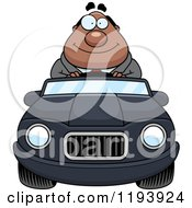 Cartoon Of A Happy Chubby Black Businessman Driving A Convertible Car Royalty Free Vector Clipart by Cory Thoman